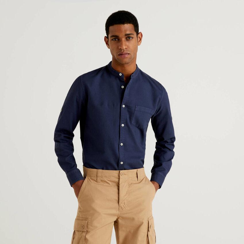Chemise coupe slim avec col mao