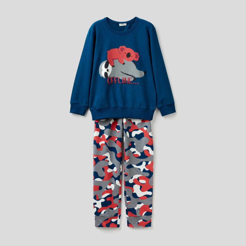 Pyjama long en coton avec imprimés