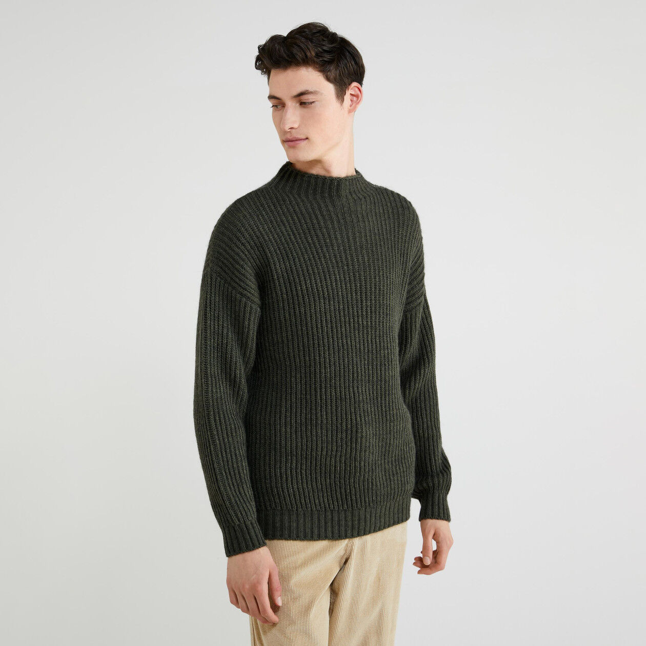 Pull col montant en laine et alpaga