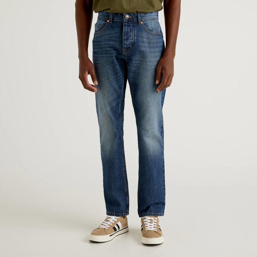 Jeans straight leg 100% coton