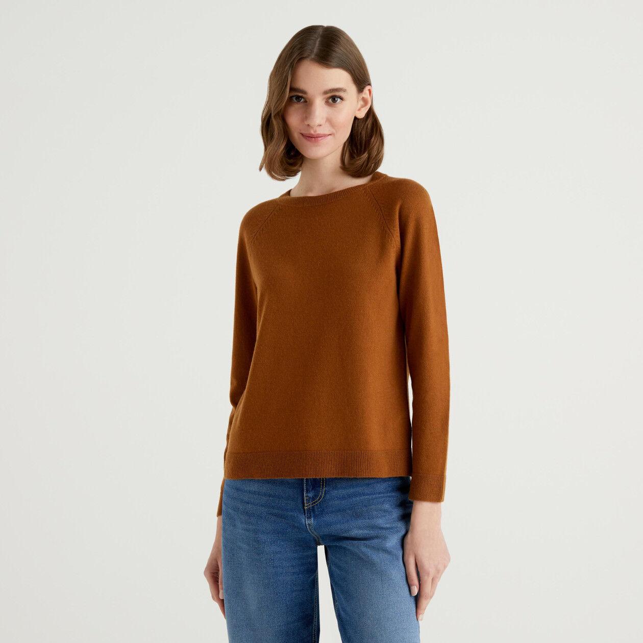Pull col rond marron en mélange de laine et cachemire