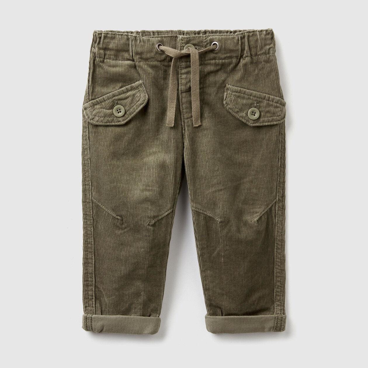 Pantalon en velours avec galon