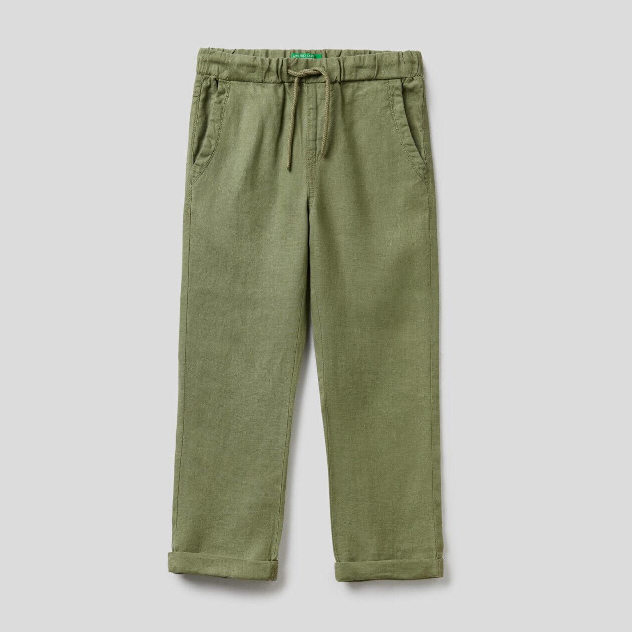 Pantalon 100% lin avec cordon de serrage