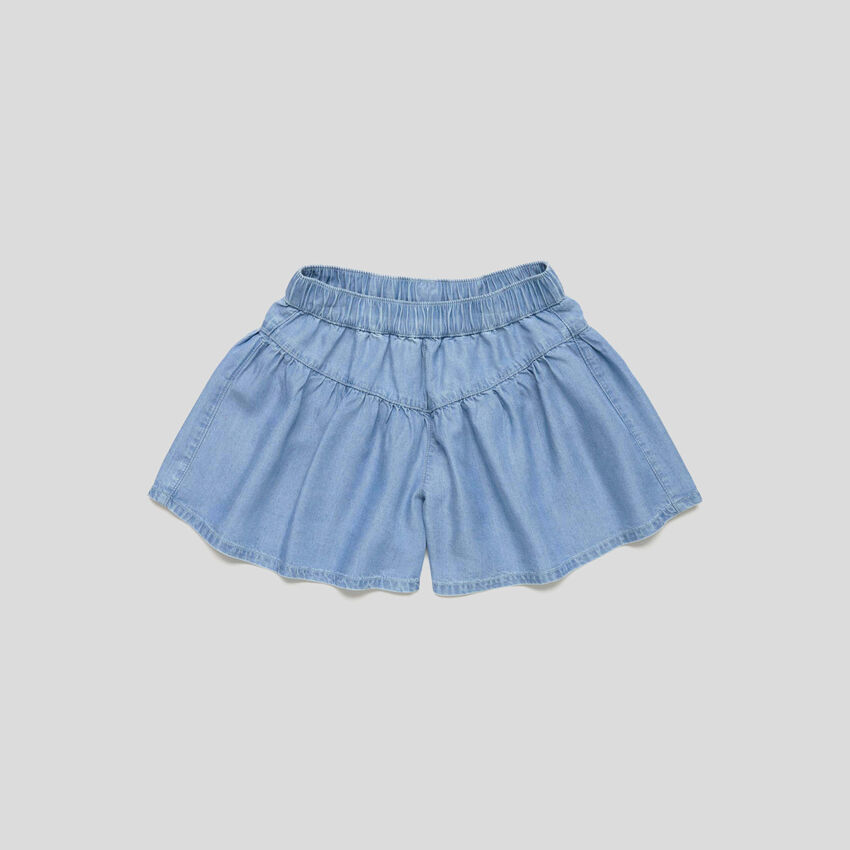 Jupe-culotte en chambray