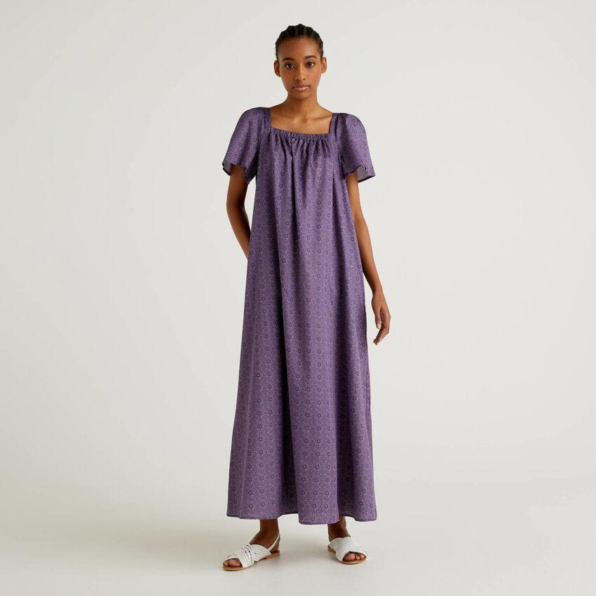 Robe longue en coton imprimé