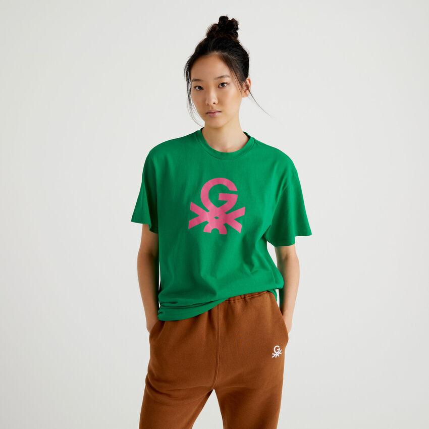 T-shirt unisexe vert avec logo by Ghali
