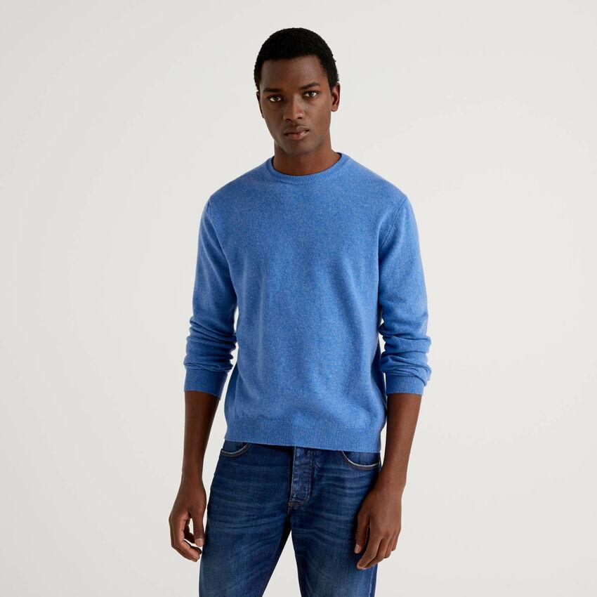 Pull bleu clair col rond en pure laine vierge