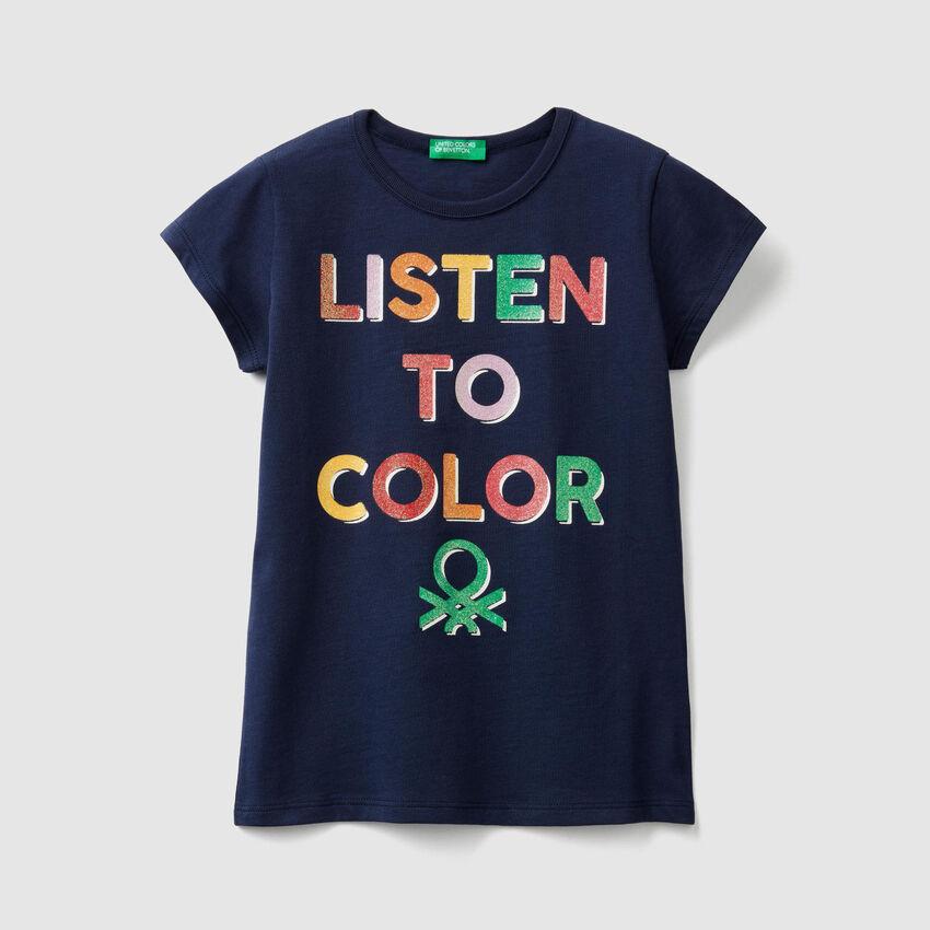 T-shirt avec imprimé logo pailleté