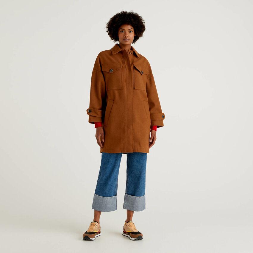 Manteau non doublé à grandes poches