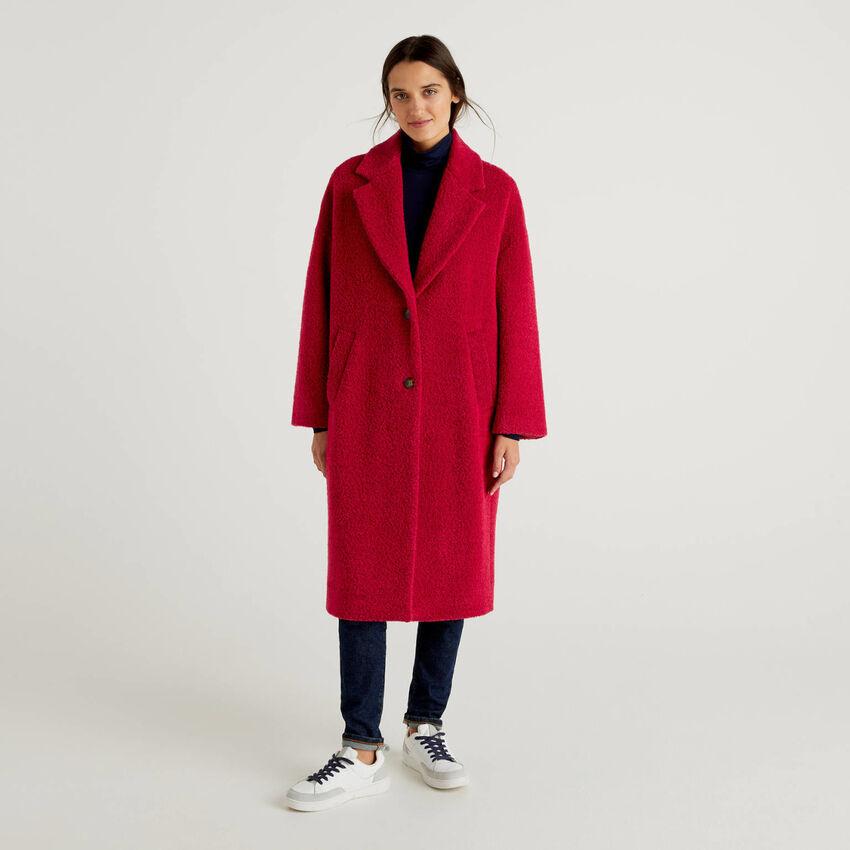 Manteau long effet bouclé