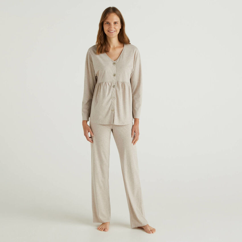 Pyjama en coton à fibres longues