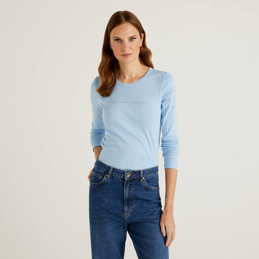 T-shirt bleu clair à manches longues 100% coton