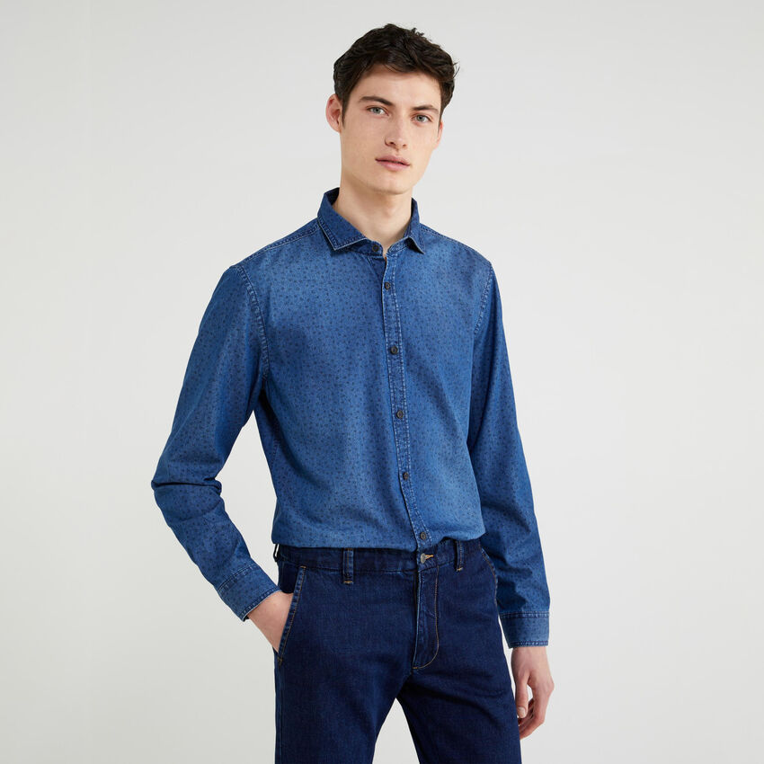 Chemise coupe slim en chambray