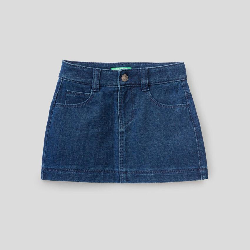 Mini-jupe en molleton effet denim