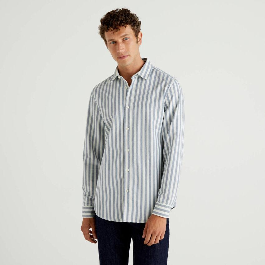 Chemise à rayures en 100% coton Oxford