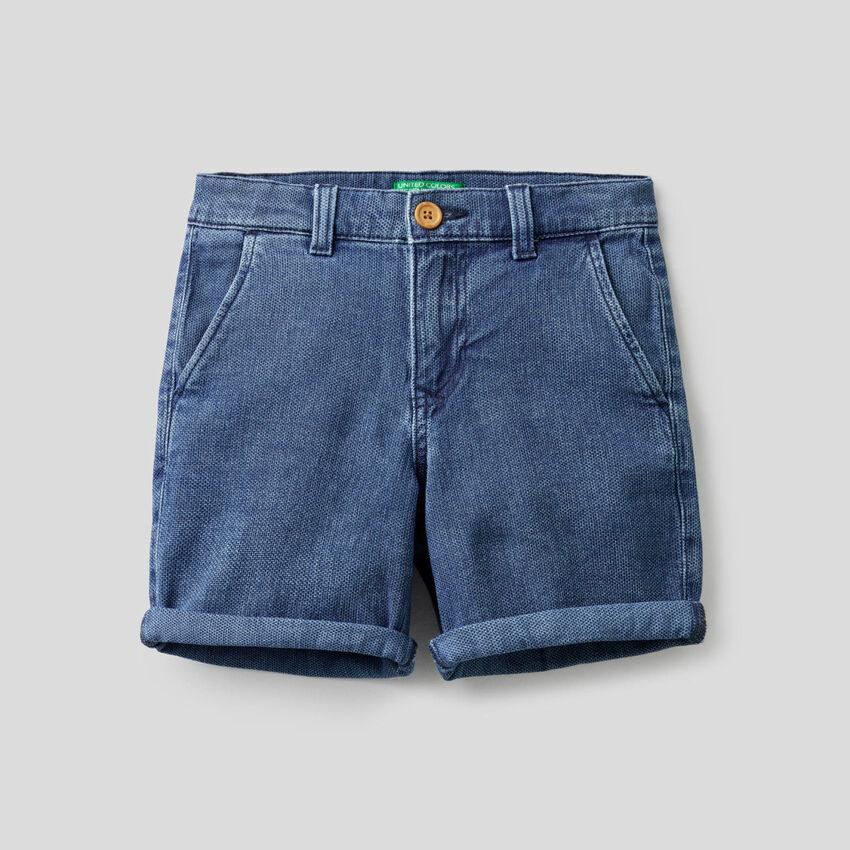 Short en denim de coton stretch