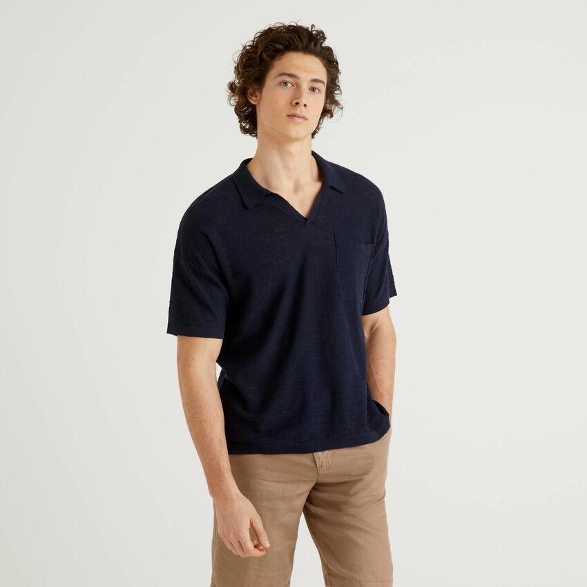 Polo en mélange de coton et lin