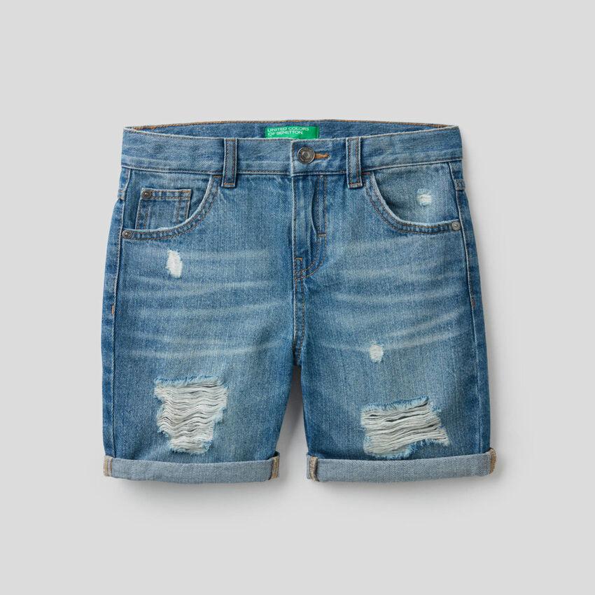 Bermuda en jeans avec aspect usé