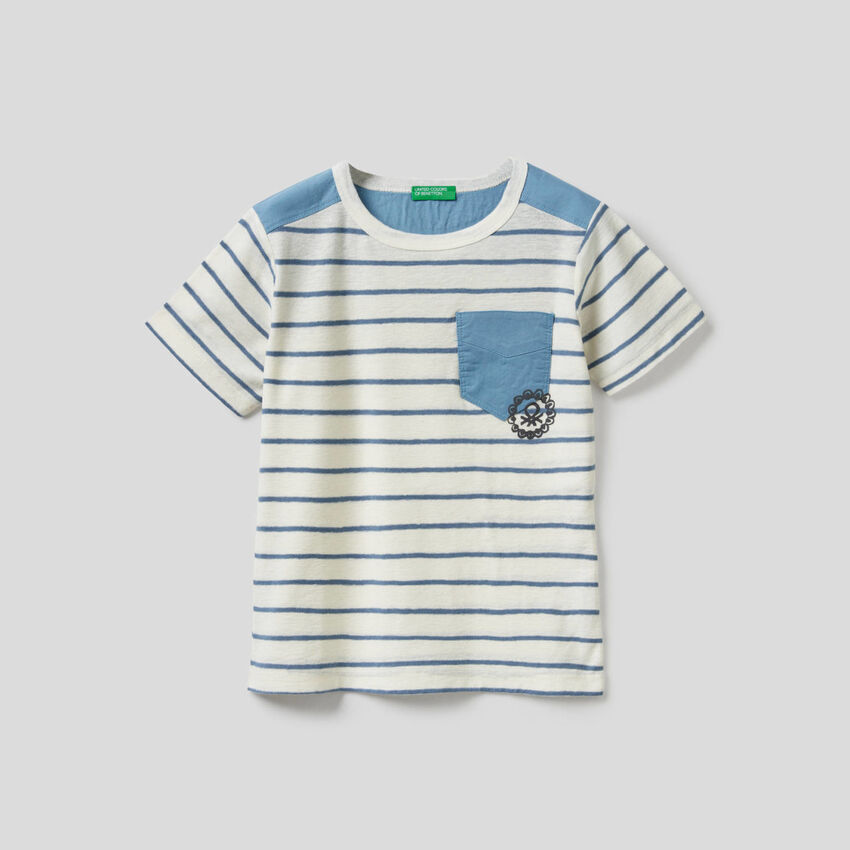 T-shirt à rayures en coton de lin mélangé