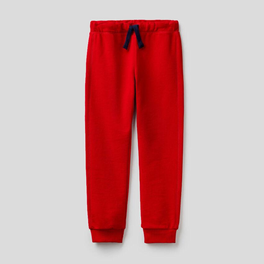 Pantalon rouge en molleton 100% coton
