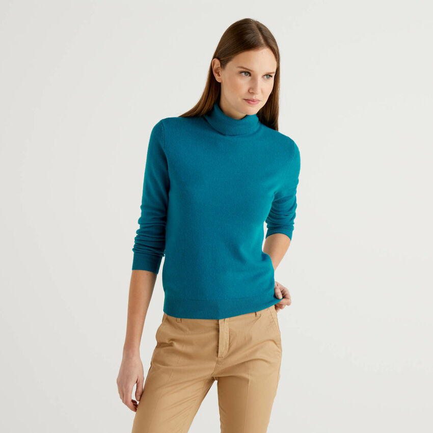 Pull col montant bleu canard en pure laine vierge