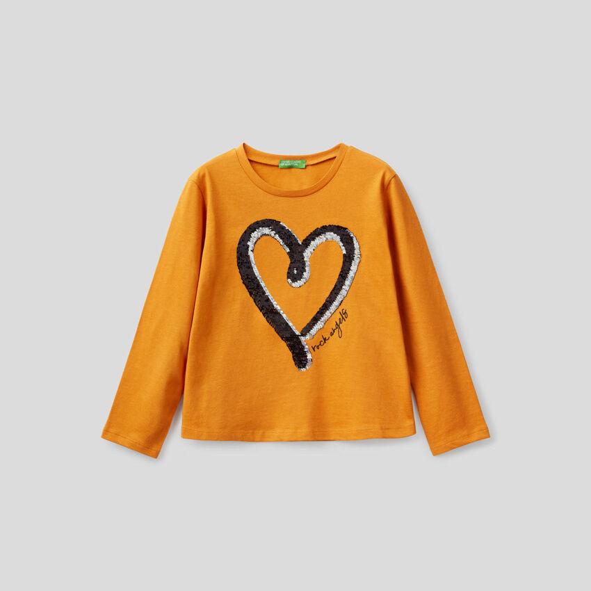 T-shirt 100% coton avec paillettes