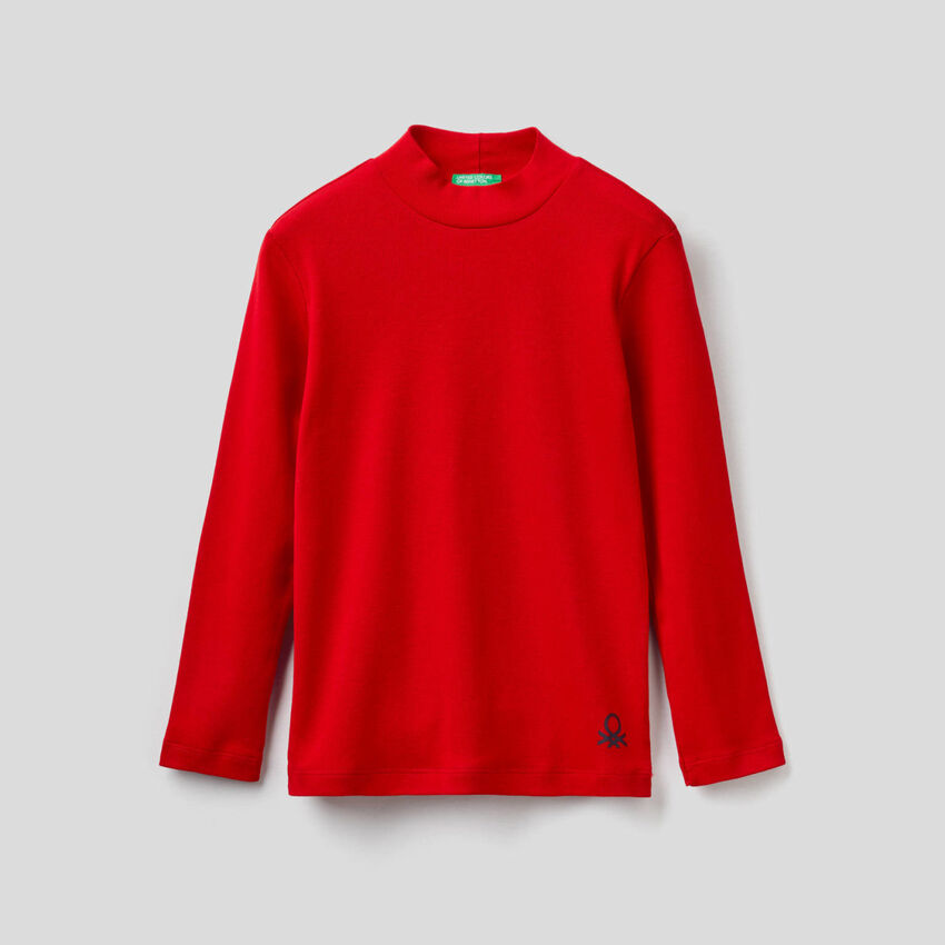 T-shirt col roulé en coton bio
