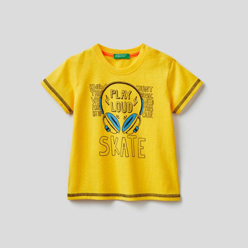 T-shirt en coton avec imprimé skateboard