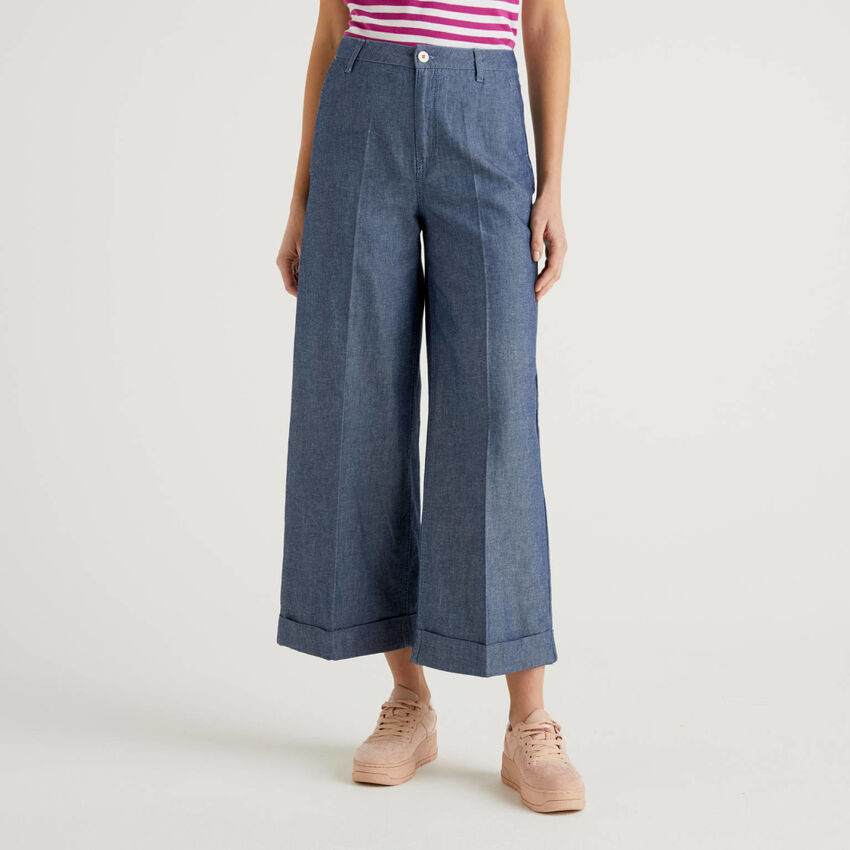 Pantalon avec revers en denim léger