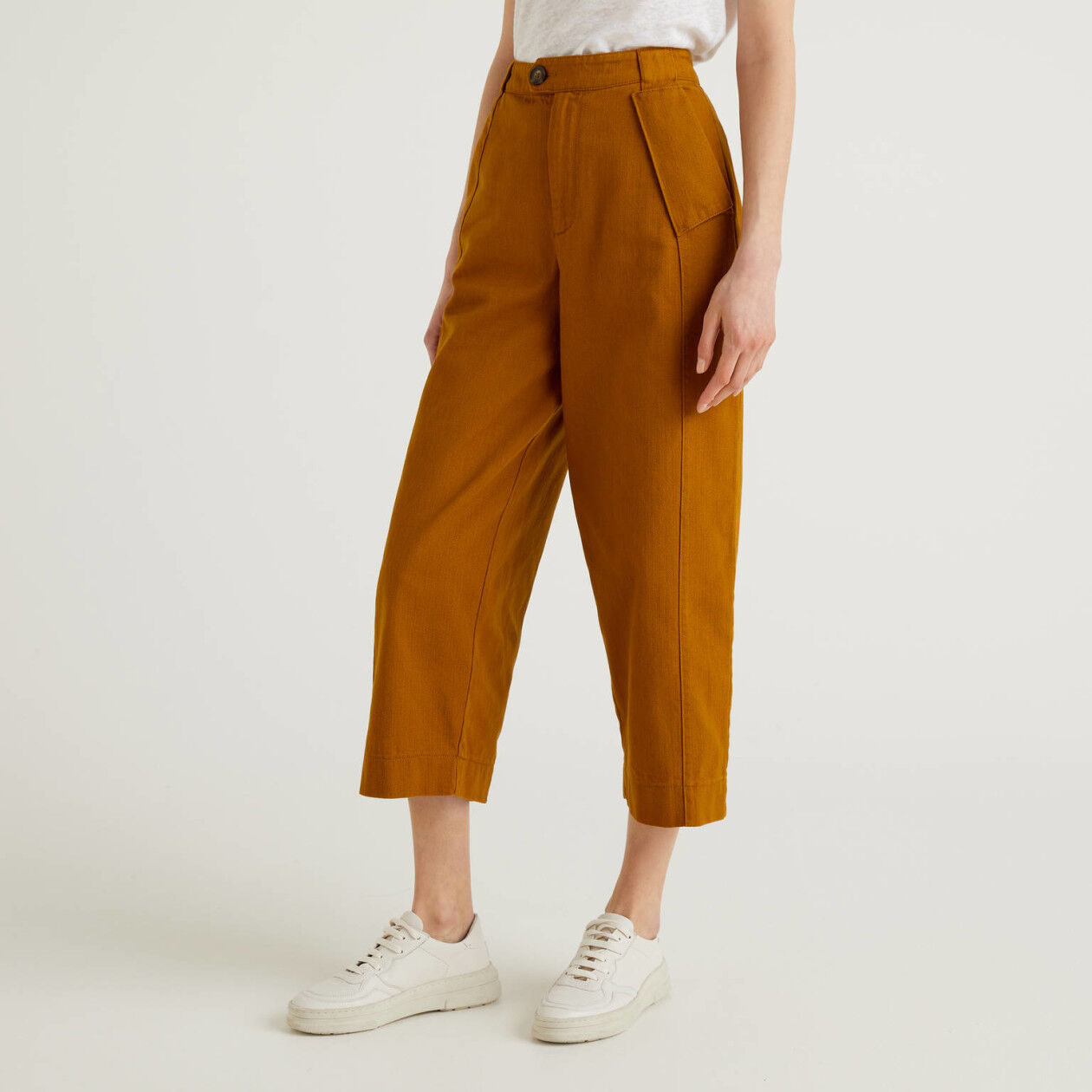 Pantalon à coupe ample en pur coton