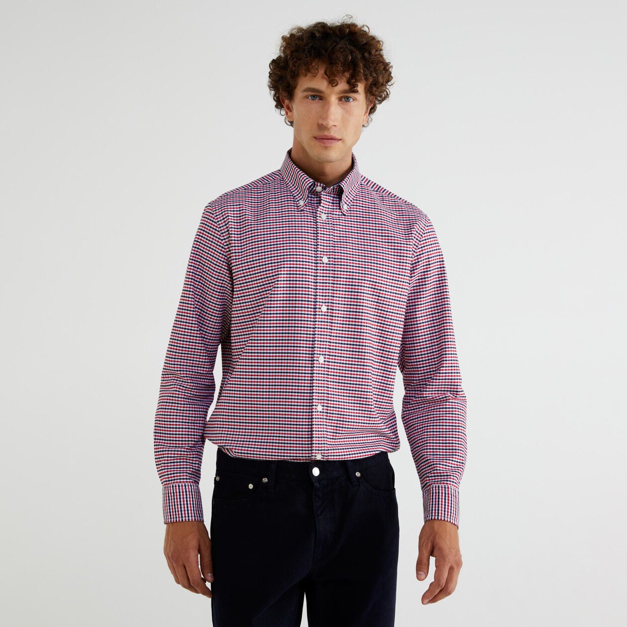Chemise button-down à carreaux