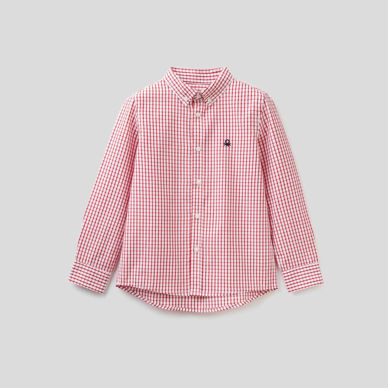 Chemise esprit sport à carreaux en pur coton