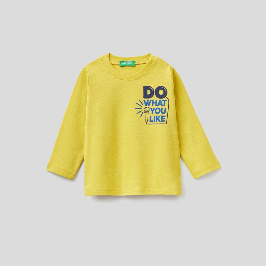 T-shirt manches longues avec message imprimé