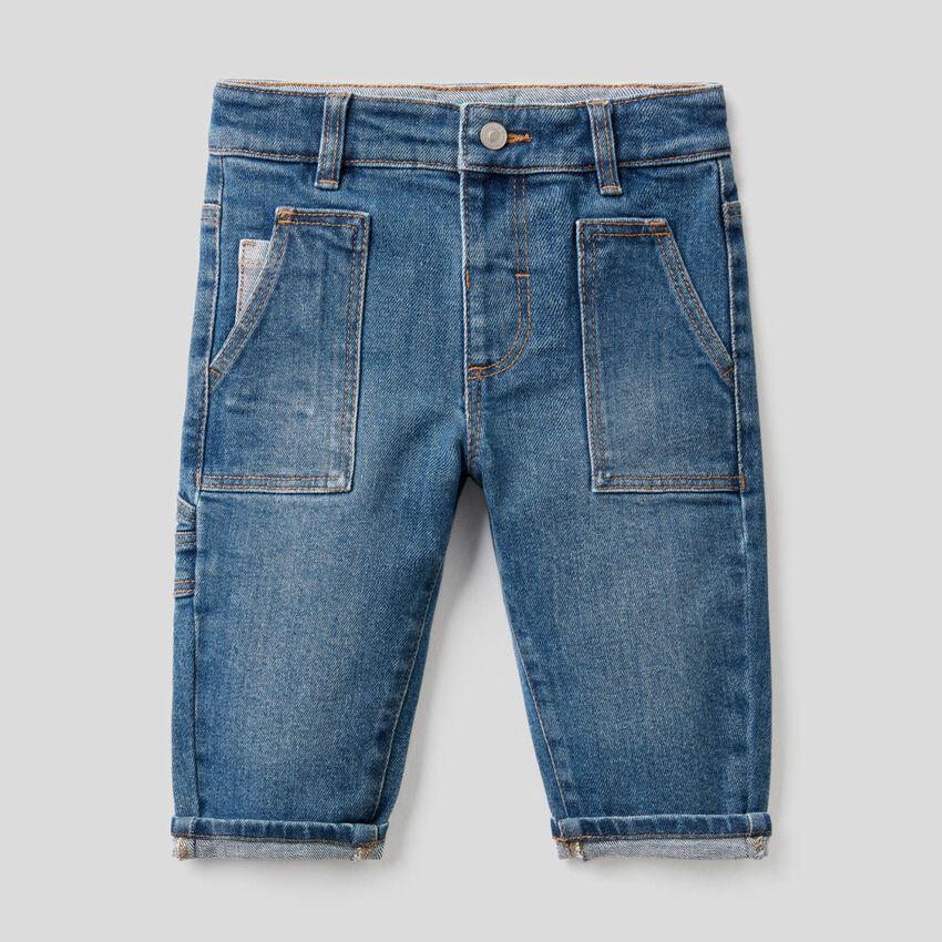 Jean grandes poches en coton stretch