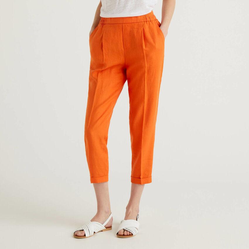 Pantalon cropped 100% lin
