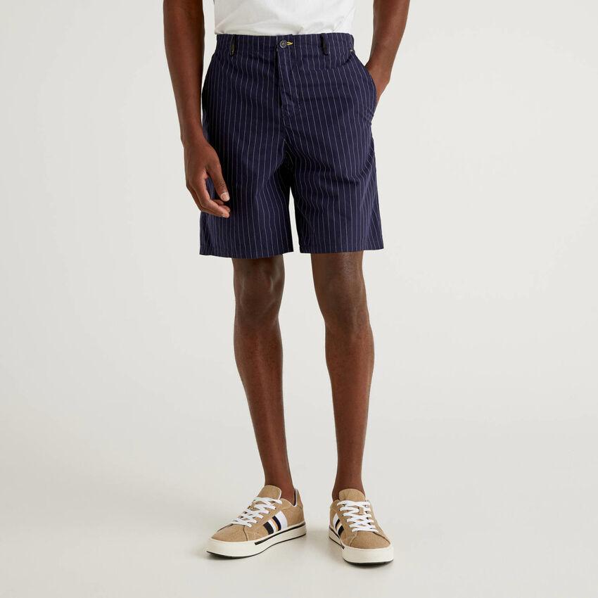 Bermuda rayé en pur coton