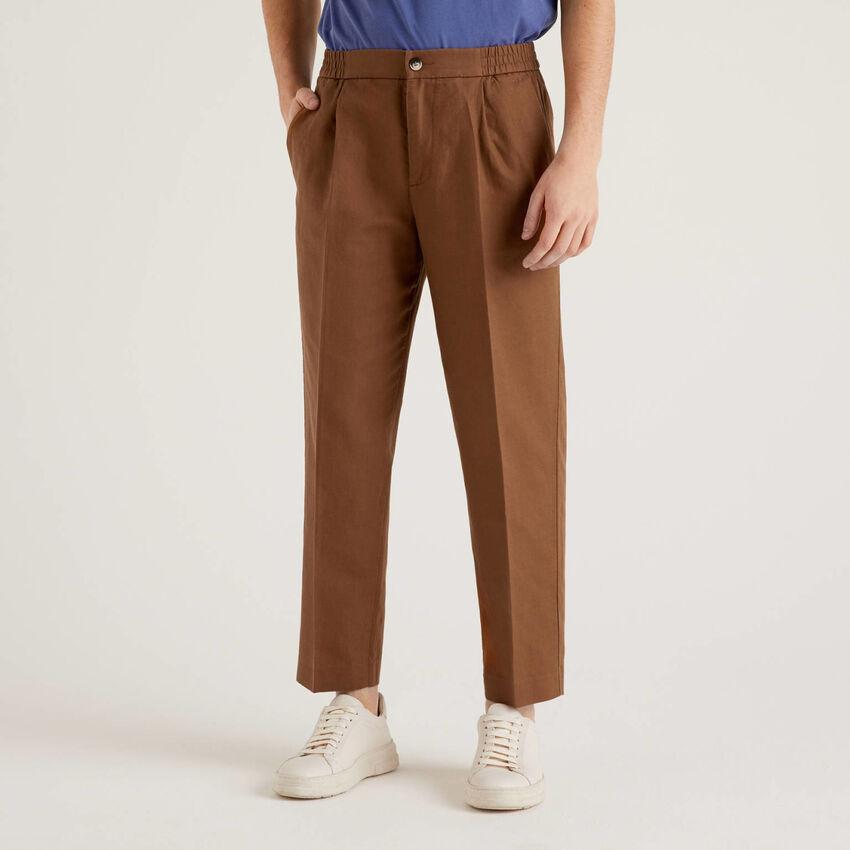 Pantalon en lin mélangé avec élastique à la taille