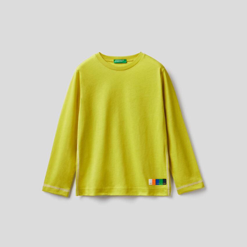 T-shirt jaune à manches longues 100% coton