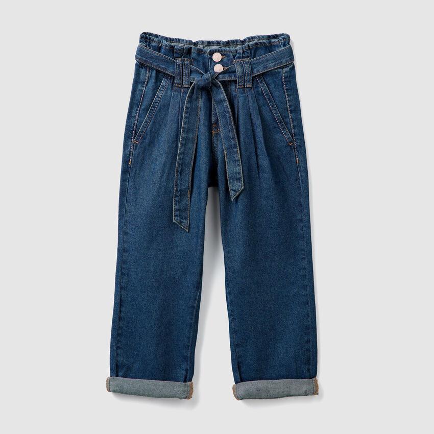 Pantalon à taille haut en denim