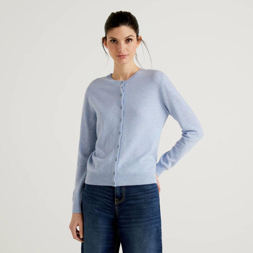 Gilet bleu clair col rond en pure laine vierge