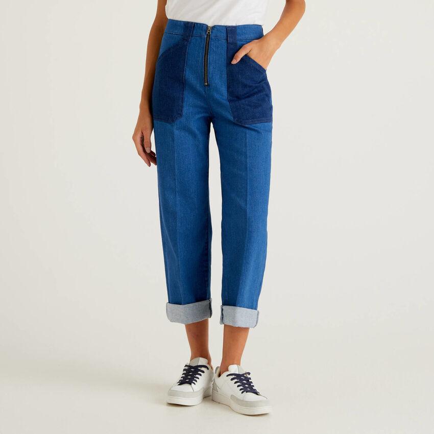Jeans color block avec coupe ample