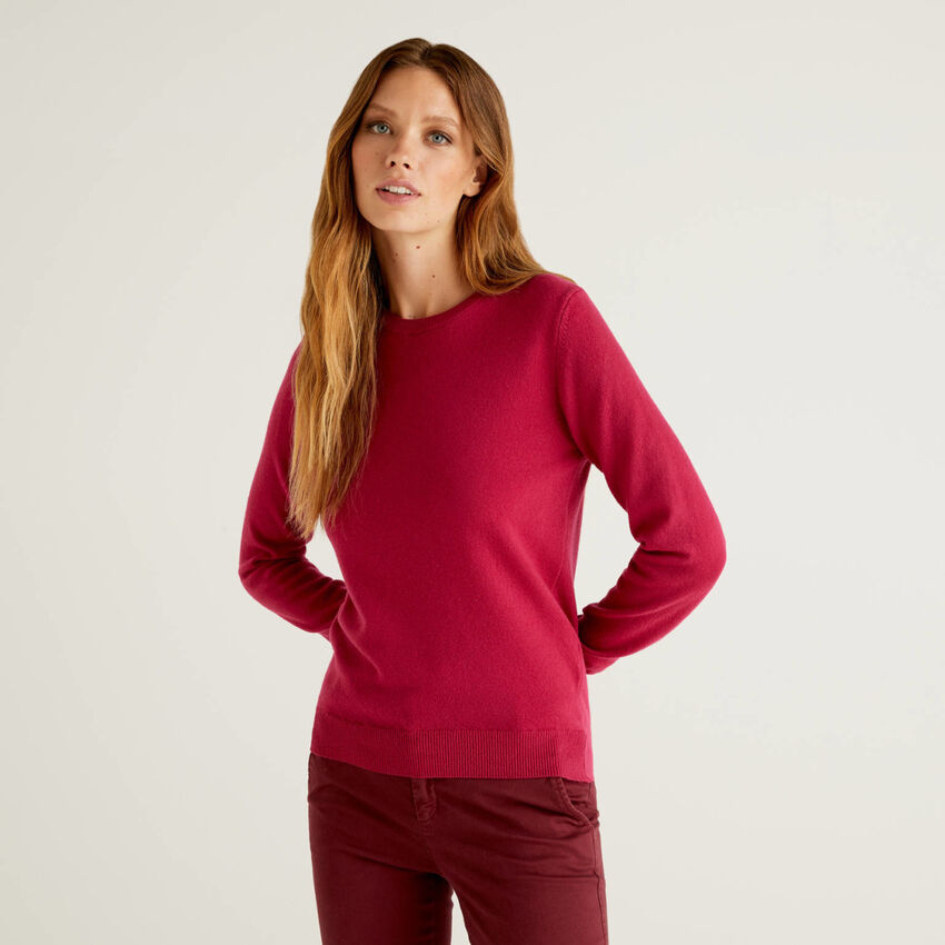 Pull col rond cyclamen en pure laine vierge