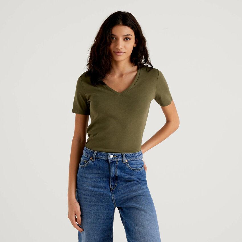 T-shirt en pur coton avec col en V