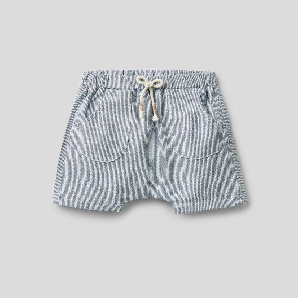 Short à rayures en pur coton