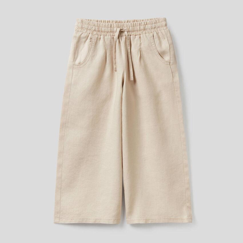 Pantalon large en 100% lin