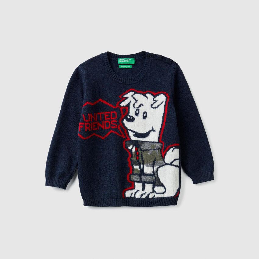 Pull tricot à intarsia