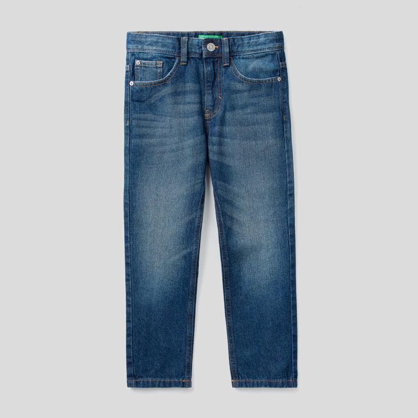 Jeans straight en denim 100% coton