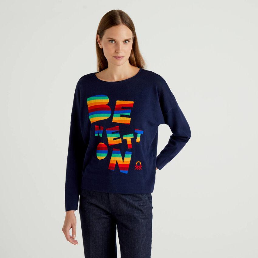 Pull 100% coton avec logo multicolore