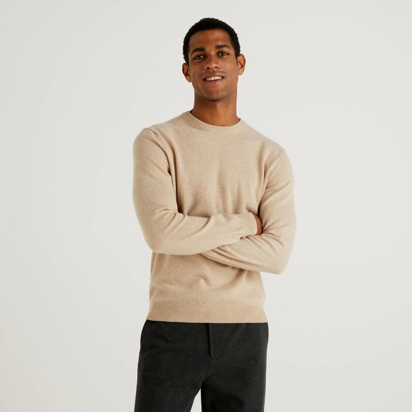 Pull col rond beige en pure laine vierge