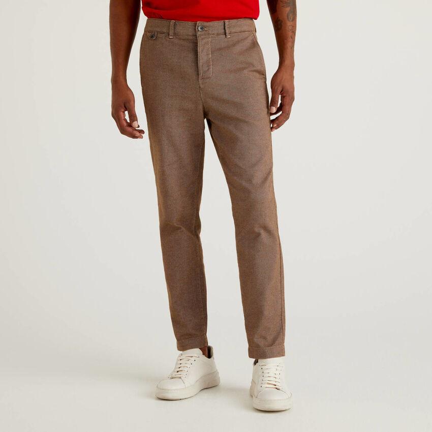 Chino cropped en coton stretch